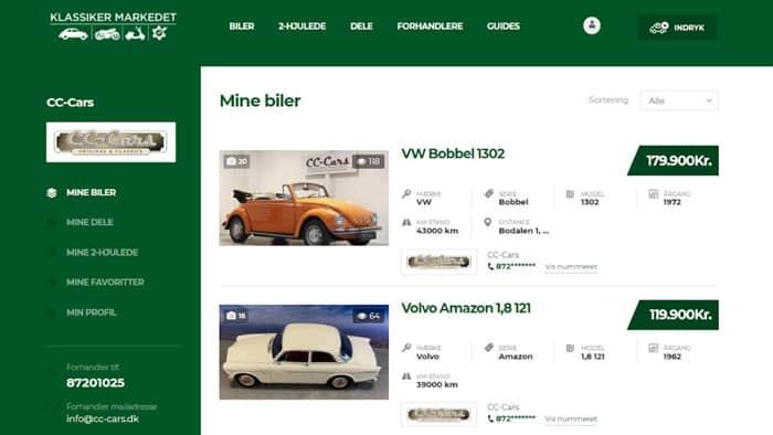 Overblik over klassiske biler til salg